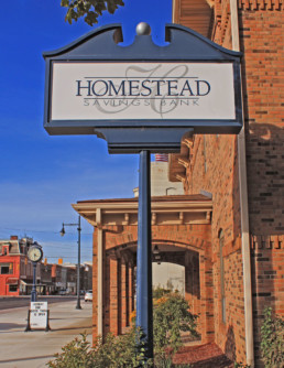 Homestead Savings Bank sign in Albion Michigan