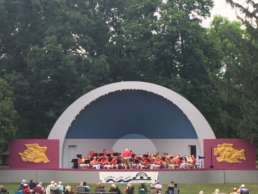 An orchestra on stage at Swinging at the Shell event in Albion, Michigan